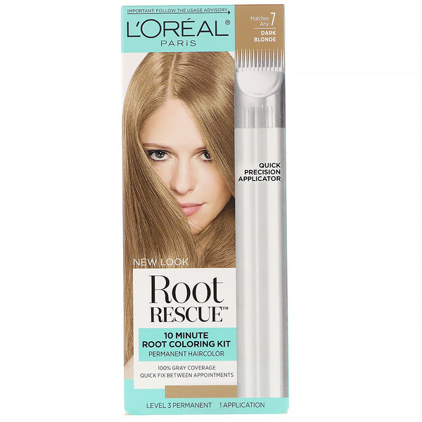 L'Oreal, Root Rescue, 10 Minute Root Coloring Kit,  7 Dark Blonde, 1 Application