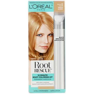 L'Oreal, Root Rescue, 10 Minute Root Coloring Kit, 8 Medium Blonde, 1 Application