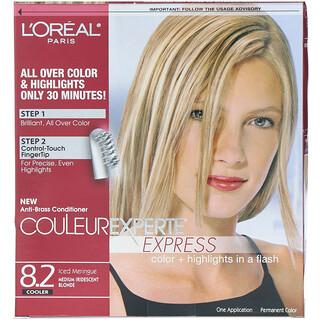 L'Oreal, Couleur Experte Express، صبغ + تلوين الخصلات، 8.2 أشقر قزحي متوسط، للاستخدام مرة واحدة