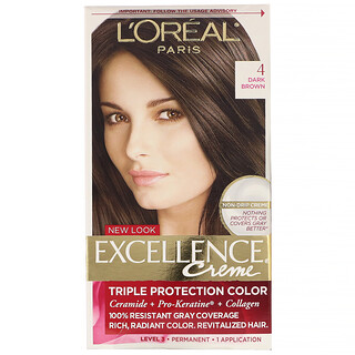 L'Oreal, Excellence Creme, Triple Protection Color,  4 Dark Brown , 1 Application