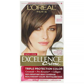 L'Oreal, Excellence Creme, Triple Protection Color, 5 Medium Brown , 1 Application