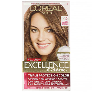 L'Oreal, Excellence Creme, Triple Protection Color, 6G Light Golden Brown, 1 Application