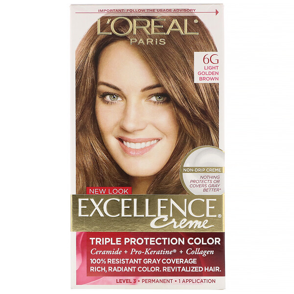 Excellence Creme, Triple Protection Color, 6G Light Golden Brown, 1 Application