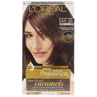 Купить L'Oreal Осветляющая краска для волос Superior Preference с системой придания сияния, холодный, осветленный натуральный коричневый UL51, на 1применение