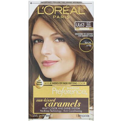 Купить L'Oreal Осветляющая краска для волос Superior Preference с системой придания сияния, теплый, осветленный золотисто-коричневый UL63, на 1применение