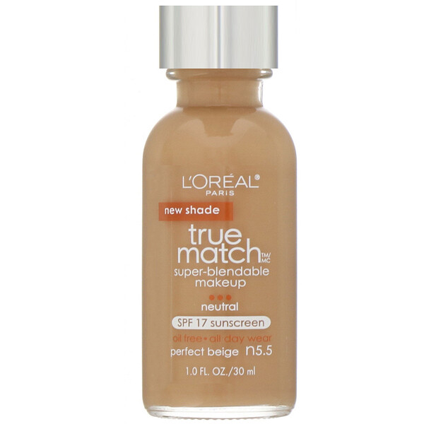 L'Oreal, True Match Super-Blendable Makeup, N5.5 Perfect Beige , 1 fl oz (30 ml) (Discontinued Item)