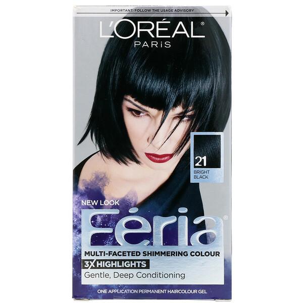 L'Oreal, Feria, Multi-Faceted Shimmering Color,  21 Bright Black, 1 Application