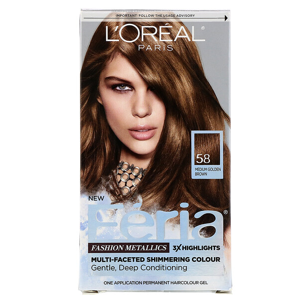 L'Oreal, Feria, Multi-Faceted Shimmering Color,  58 Medium Golden Brown, 1 Application (Discontinued Item)