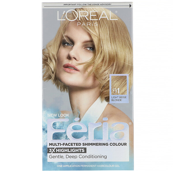 Feria, Multi-Faceted Shimmering Color, 91 Light Beige Blonde, 1 Application