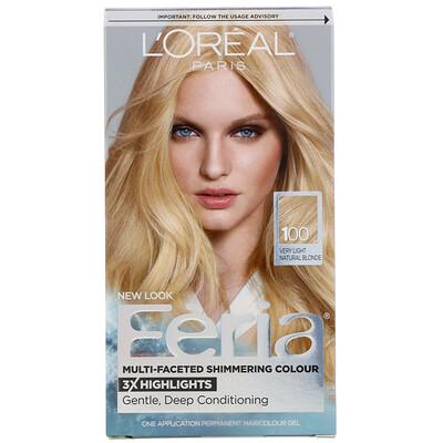 Купить L'Oreal Гель-краска Feria для многогранного мерцающего цвета волос, оттенок 100 очень светлый натуральный блонд, на 1применение