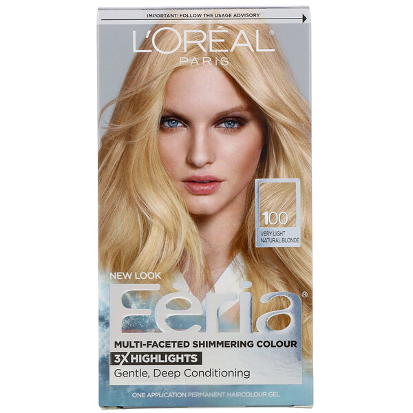 L'Oreal, Feria, Multi-Faceted Shimmering Color, 100 Very Light Natural Blonde, 1 Application