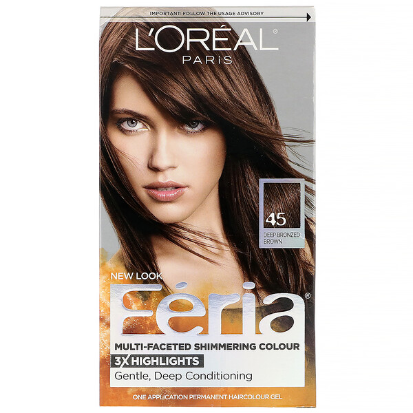 L'Oreal, Feria, Multi-Faceted Shimmering Color,  45 Deep Bronzed Brown, 1 Application (Discontinued Item)