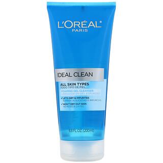 L'Oreal, IdealClean, Gel de limpieza espumante, 200ml (6,8oz.líq.)
