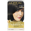 L'Oreal, Superior Preference, Fade-Defying Color + Shine System, Natural,  3 Soft Black, 1 Application