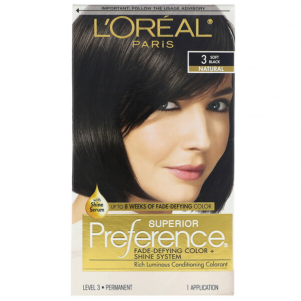 L'Oreal, Superior Preference, Fade-Defying Color + Shine System, Natural,  3 Soft Black, 1 Application (Discontinued Item)