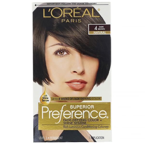 L'Oreal, Superior Preference، لون مقاوم للتلاشي + نظام لمعان، لون بني داكن طبيعي 4، للاستخدام مرة واحدة (Discontinued Item)