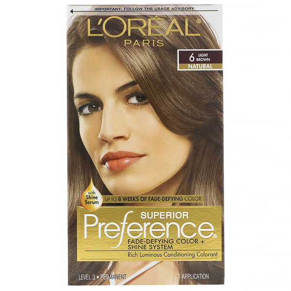 Superior Preference, Fade-Defying Color + Shine System, Natural, Light Brown 6, 1 Application