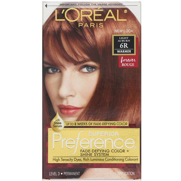 L'Oreal, Superior Preference, Fade-Defying Color + Shine System,  Warmer, Light Auburn 6R, 1 Application