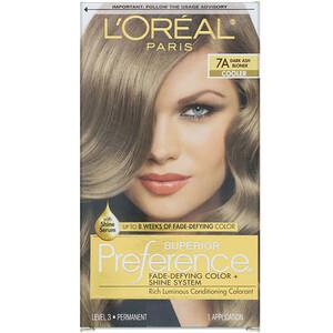 L'Oreal, Superior Preference, Fade-Defying Color + Shine System, Cooler, 7A Dark Ash Blonde, 1 Application отзывы