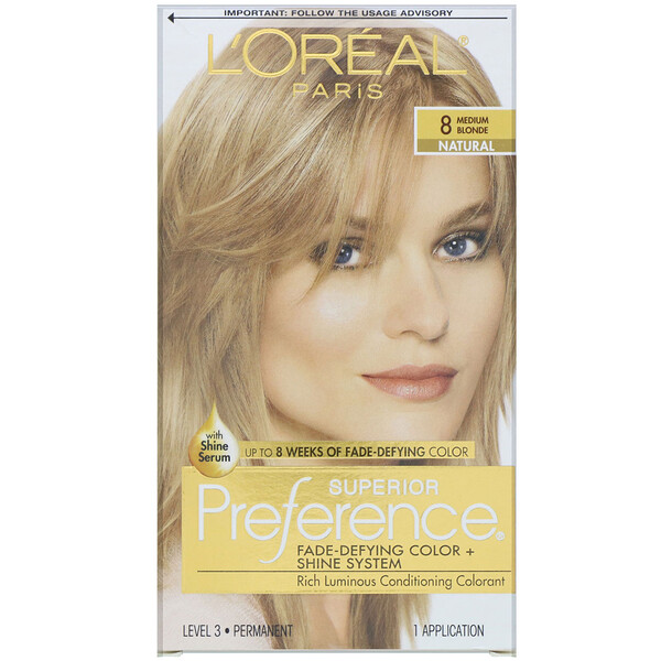 Superior Preference, Fade-Defying Color + Shine System, Natural, 8 Medium Blonde, 1 Application