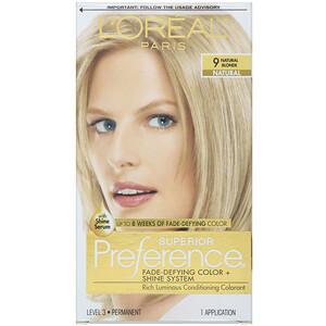 L'Oreal, Superior Preference, Fade-Defying Color + Shine System, 9 Natural Blonde, 1 Application отзывы