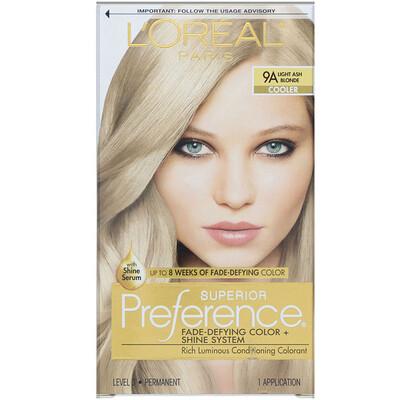 Купить L'Oreal Superior Preference, краска для волос с технологией против вымывания цвета и системой придания сияния, холодный оттенок, светлый пепельный блонд9A, на 1применение