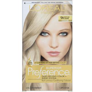 L'Oreal, Superior Preference، لون مقاوم للتلاشي + نظام لمعان، بارد. لون أشقر رمادي فاتح رمادي 9، للاستخدام مرة واحدة