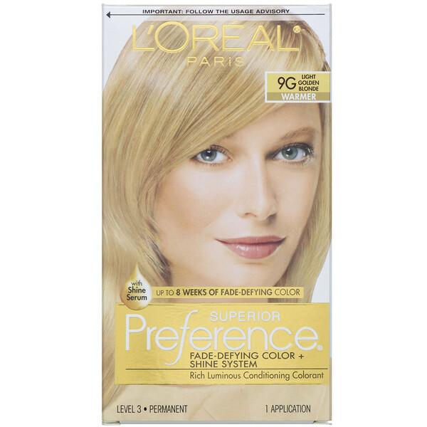 L'Oreal, Superior Preference, Fade-Defying Color + Shine System,  Warmer, Light Golden Blonde 9G , 1 Application
