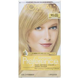 L'Oreal, Superior Preference, Fade-Defying Color + Shine System,  Warmer, Light Golden Blonde 9G , 1 Application отзывы