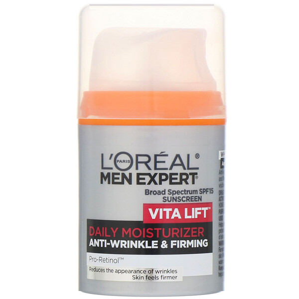 L'Oreal, Men Expert, Antiarrugas y reafirmante, Humectante diario Vita Lift, FPS 15, 48 ml (1,6 oz. líq.)