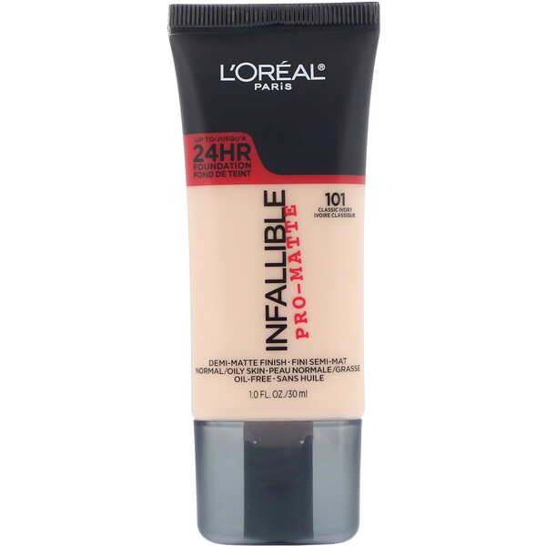 L'Oreal, Infallible Pro-Matte Foundation, 101 Classic Ivory, 1 fl oz (30 ml)