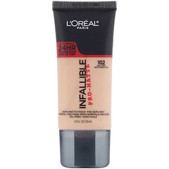 L'Oreal, Infallible Pro-Matte Foundation, 102 Shell Beige, 1 fl oz (30 ml)