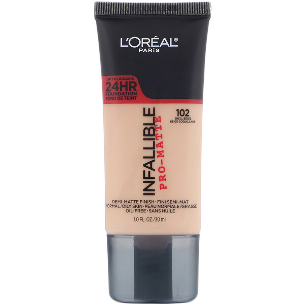 Infallible Pro-Matte Foundation, 102 Shell Beige, 1 fl oz (30 ml)
