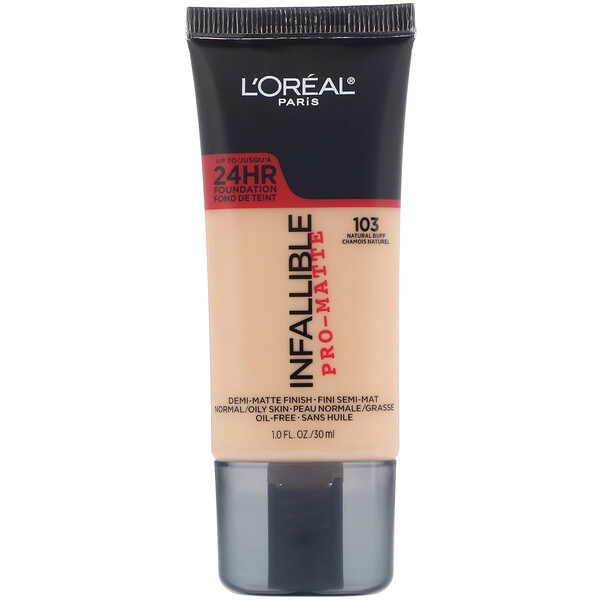 L'Oreal, Infallible Pro-Matte Foundation, 103 Natural Buff, 1 fl oz (30 ml)