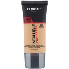 L'Oreal, Infallible Pro-Matte Foundation, 105 Natural Beige, 1 fl oz (30 ml)