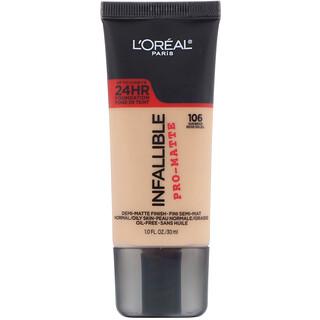 L'Oreal, Infallible Pro-Matte Foundation, 106 Sun Beige, 1 fl oz (30 ml)