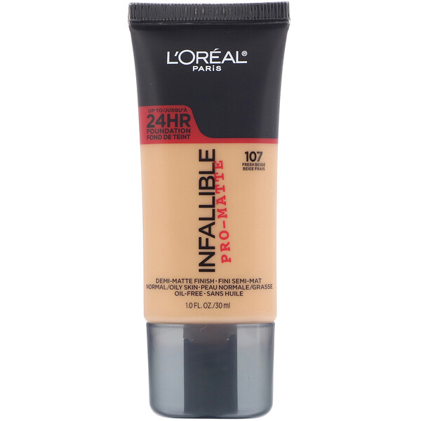 L'Oreal, Infallible Pro-Matte Foundation, 107 Fresh Beige, 1 fl oz (30 ml) (Discontinued Item)