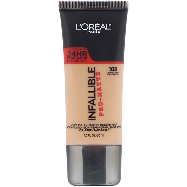 L'Oreal, Infallible Pro-Matte Foundation, 108 Caramel Beige, 1 fl oz (30 ml) (Discontinued Item)
