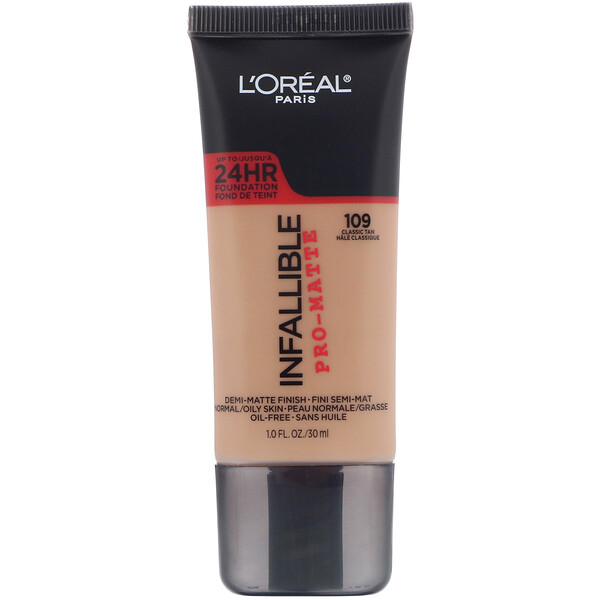L'Oreal, Infallible Pro-Matte Foundation, 109 Classic Tan, 1 fl oz (30 ml) (Discontinued Item)