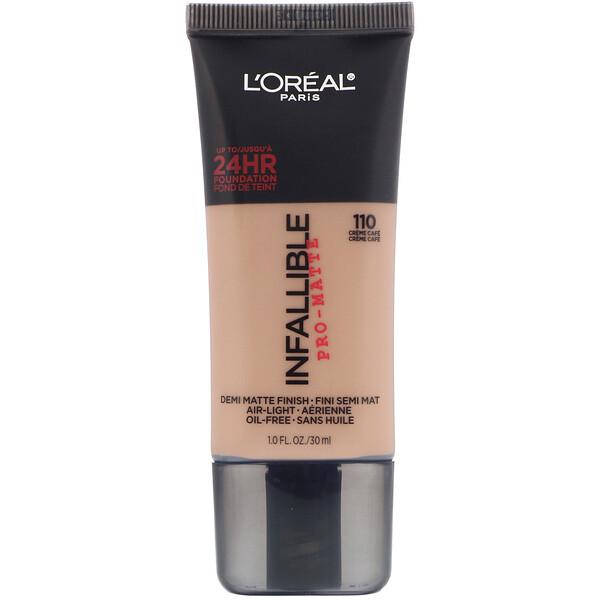 Infallible Pro-Matte Foundation, 110 Creme Cafe , 1 fl oz (30 ml)