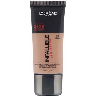 L'Oreal, Infallible Pro-Matte Foundation, 111 Soft Sable, 1 fl oz (30 ml)