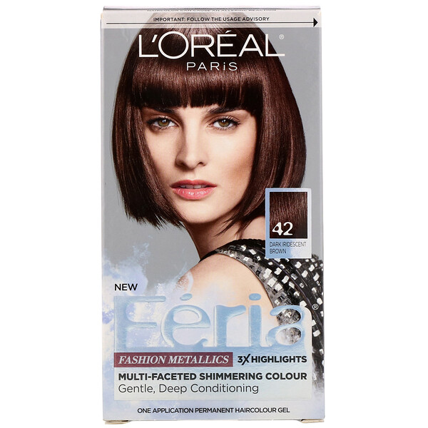 L'Oreal, Feria, Multi-Faceted Shimmering Color,  42 Dark Iridescent Brown, 1 Application (Discontinued Item)