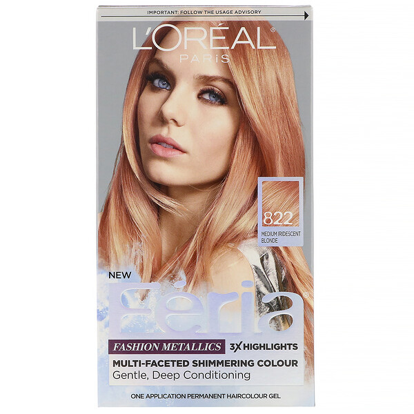 L'Oreal, Feria, Multi-Faceted Shimmering Color, 822 Medium Iridescent Blonde , 1 Application