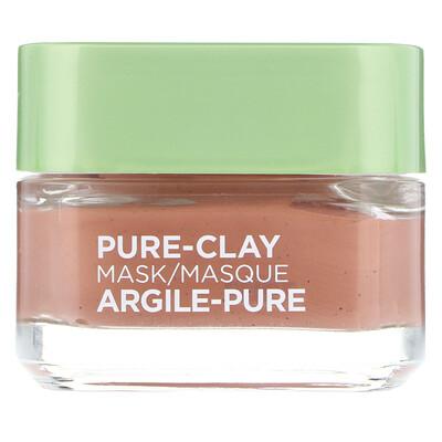 Купить L'Oreal Маска Pure-Clay, отшелушивание и выравнивание пористой кожи, 3натуральные глины+красные водоросли, 48г