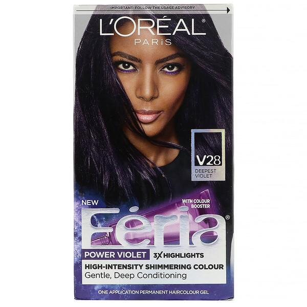 Feria 閃炫系列權力紫染髮劑,V28 深紫色,1 次裝