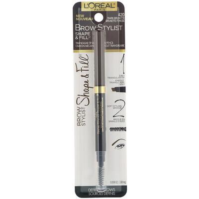 Купить L'Oreal Brow Stylist Shape & Fill, карандаш для бровей, оттенок 420 «Темный брюнет», 250мг (0, 008жидких унций)