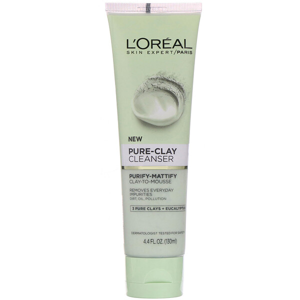 L'Oreal, Pure-Clay Cleanser, Purify-Mattify, 3 Pure Clays + Eucalyptus, 4.4 fl oz (130 ml) (Discontinued Item)