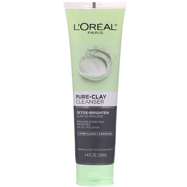 Pure-Clay Cleanser, Detox-Brighten, 3 Pure Clays + Charcoal, 4.4 fl oz (130 ml)
