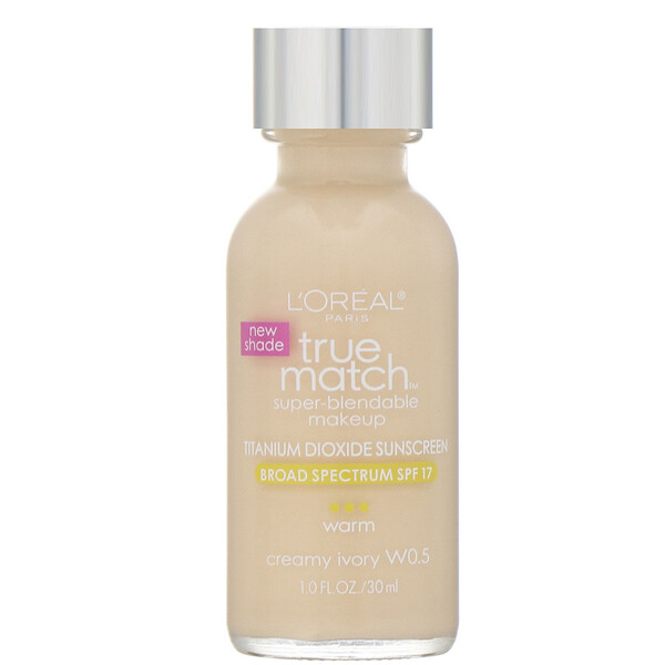 L'Oreal, True Match Super-Blendable Makeup, W0.5 Creamy Ivory, 1 fl oz (30 ml) (Discontinued Item)