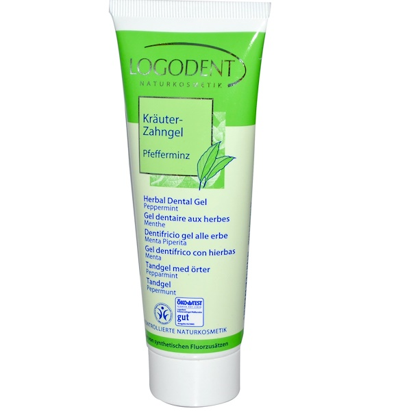 Logona Naturkosmetik, Logodent, Herbal Dental Gel, Peppermint, 2.5 fl oz (75 ml) (Discontinued Item)